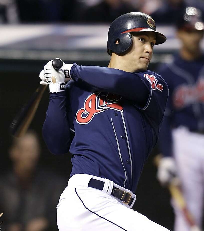 Cleveland Indians' Grady Sizemore hits a three-run home run off Kansas City Royals pitcher Sidney Ponson in the fourth inning of a baseball game Tuesday, April 21, 2009, in Cleveland. (AP Photo/Ron Schwane) Photo: Ron Schwane, AP