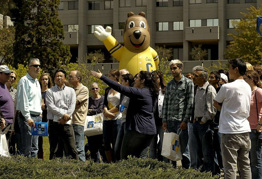 "Third-year Cal student Vaso Rahimzadeh and school mascot ""Oski"" conduct a tour for parents, potential students and alumni at UC Berkeley's annual Cal Day on Saturday. Photo: Michael Macor, The Chronicle"