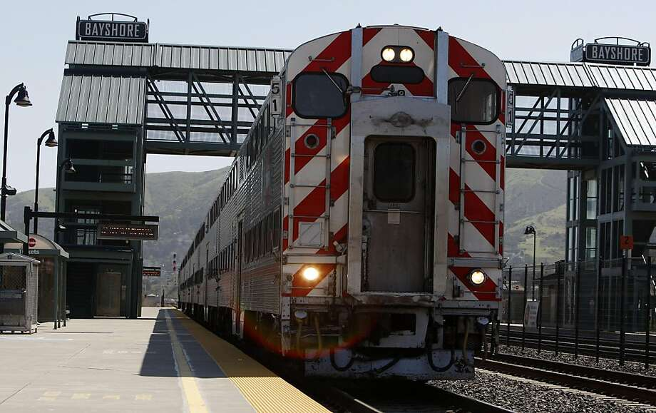 A Northbound train pulls into Bayshore station on Friday, April 6, 2011. Bayshore station at 400 Tunnel Road in San Francisco will be closed as part of Caltrain's funding plan requiring fare increases without service cuts. Photo: Anna Vignet, The Chronicle