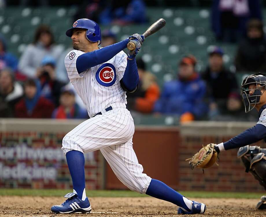 CHICAGO, IL - APRIL 20: Reed Johnson #5 of the Chicago Cubs hits a walk-off home run in the 11th inning against the San Diego Padres at Wrigley Field on April 20, 2011 in Chicago, Illinois. The Cubs defeated the Padres 2-1 in11 innings. Photo: Jonathan Daniel, Getty Images