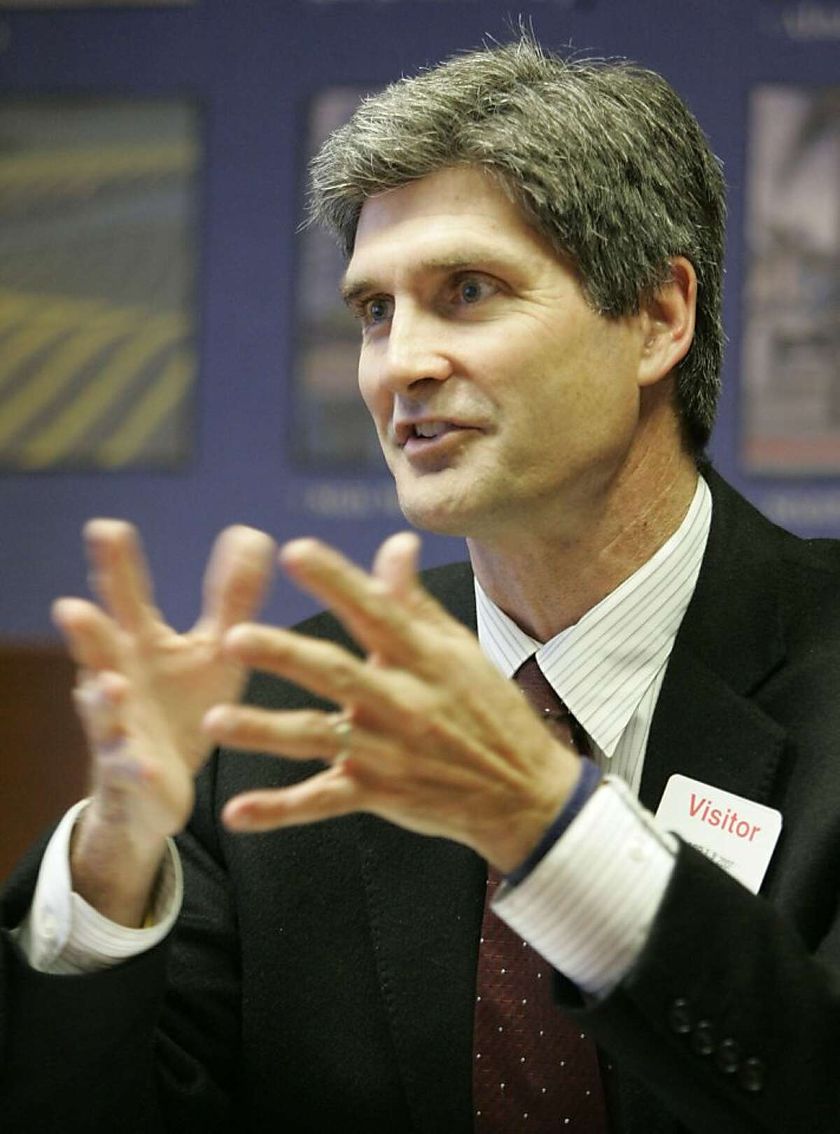 Carl Guardino, president and CEO of the Silicon Valley Leadership Group talks with the Chronicle business reporters at the Chronicle offices on Thursday, April 19, 2007.