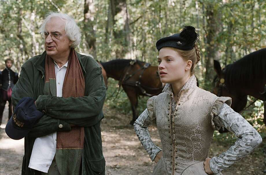 "Director Bertrand Tavernier and Melanie Thierry as Marie De Montpensier on the set of ""The Princess of Montpensier."" Photo: Etienne George, Paradis Films"