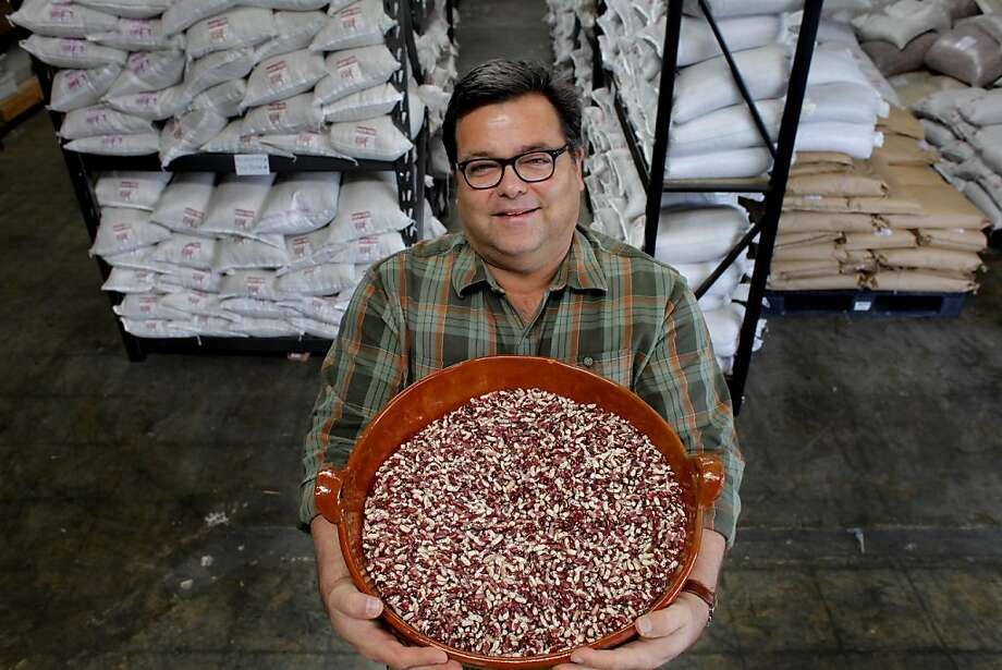 "Steve Sando , founder of Rancho Gordo, an heirloom bean company, shows off the ""Good Mother Stallard"" bean, Wednesday April 13, 2011, in Napa, Calif. Photo: Lacy Atkins, The Chronicle"