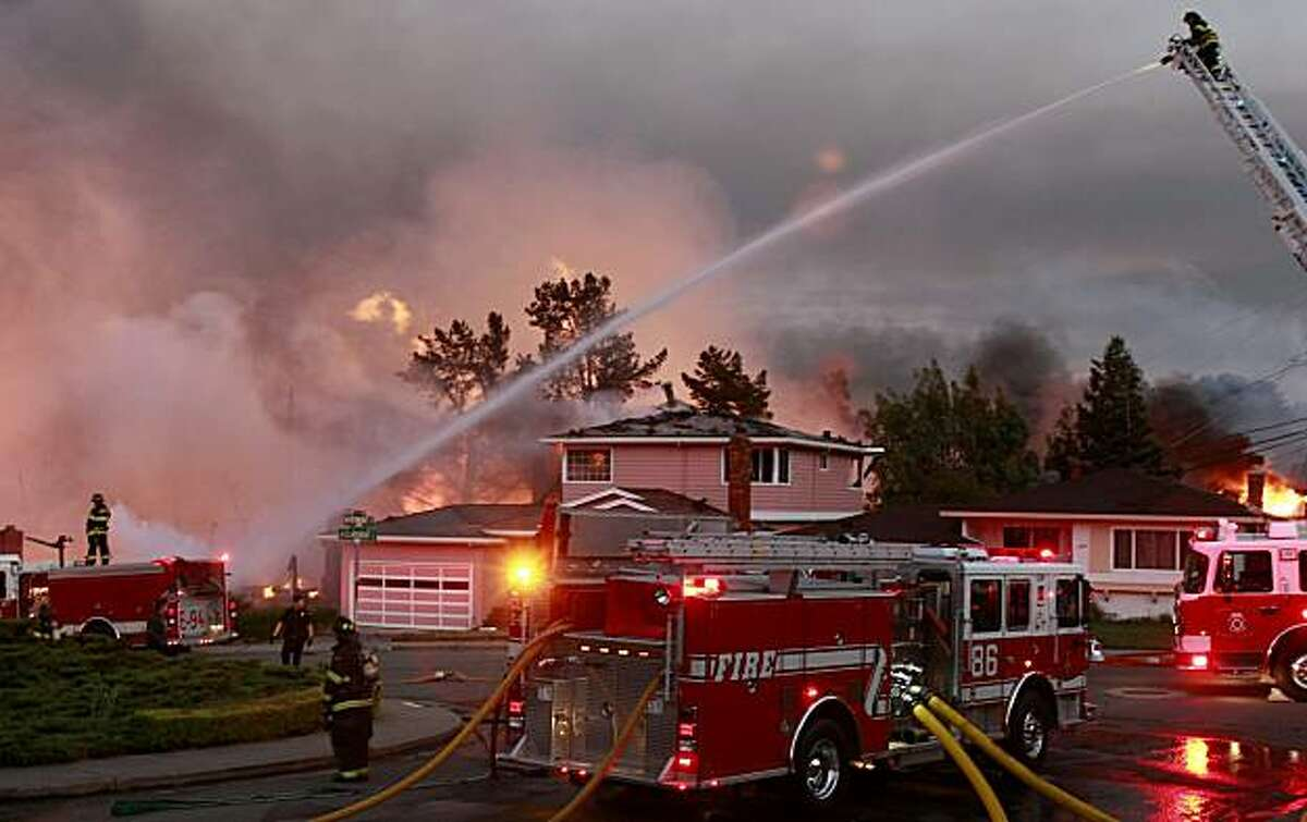 Firefighters fought to protect homes on Vermont Street in San Bruno. A blast believed to be caused by a natural gas explosion destroyed a San Bruno, Calif. neighborhood Thursday September 9, 2010.