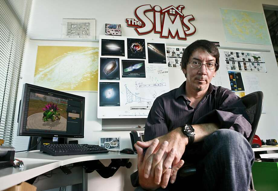 Picture taken March 24, 2008 shows Will Wright, creator of computer game hits such as SimCity and The Sims, who is developing the new life simulation game SPORE at Electronic Arts in Emeryville, California, on March 24, 2008. SPORE, a multi-platform game under development by Wright's company Maxis, allows a player to control the evolution of a species from its beginnings as a multicellular organism, through development as a social land-walking creature to levels of interstellar exploration. SPORE will be released in September 2008. Photo: Afp, AFP/Getty Images