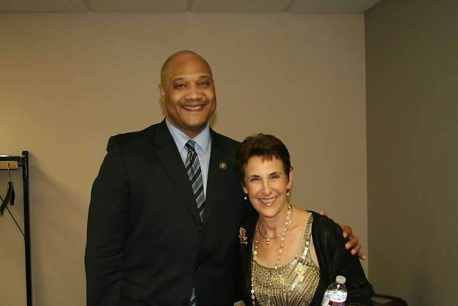 Judith Goldblatt in an undated photo with Rep. Andre Carson, D-Ind. Goldblatt was killed April 15 when her car was hit by a Caltrain in Palo Alto. Photo: Courtesy Of Wilson Allen