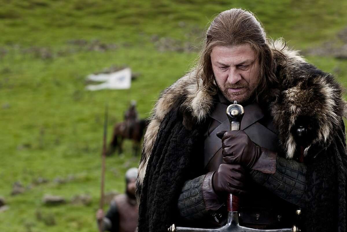 """A scene from GAME OF THRONES an HBO adaption of George R.R. Martin's books featuring Sean Bean as Eddard """"Ned"""" Stark, Lord of Winterfell, Lord Paramount of the North, and Warden of the North."""