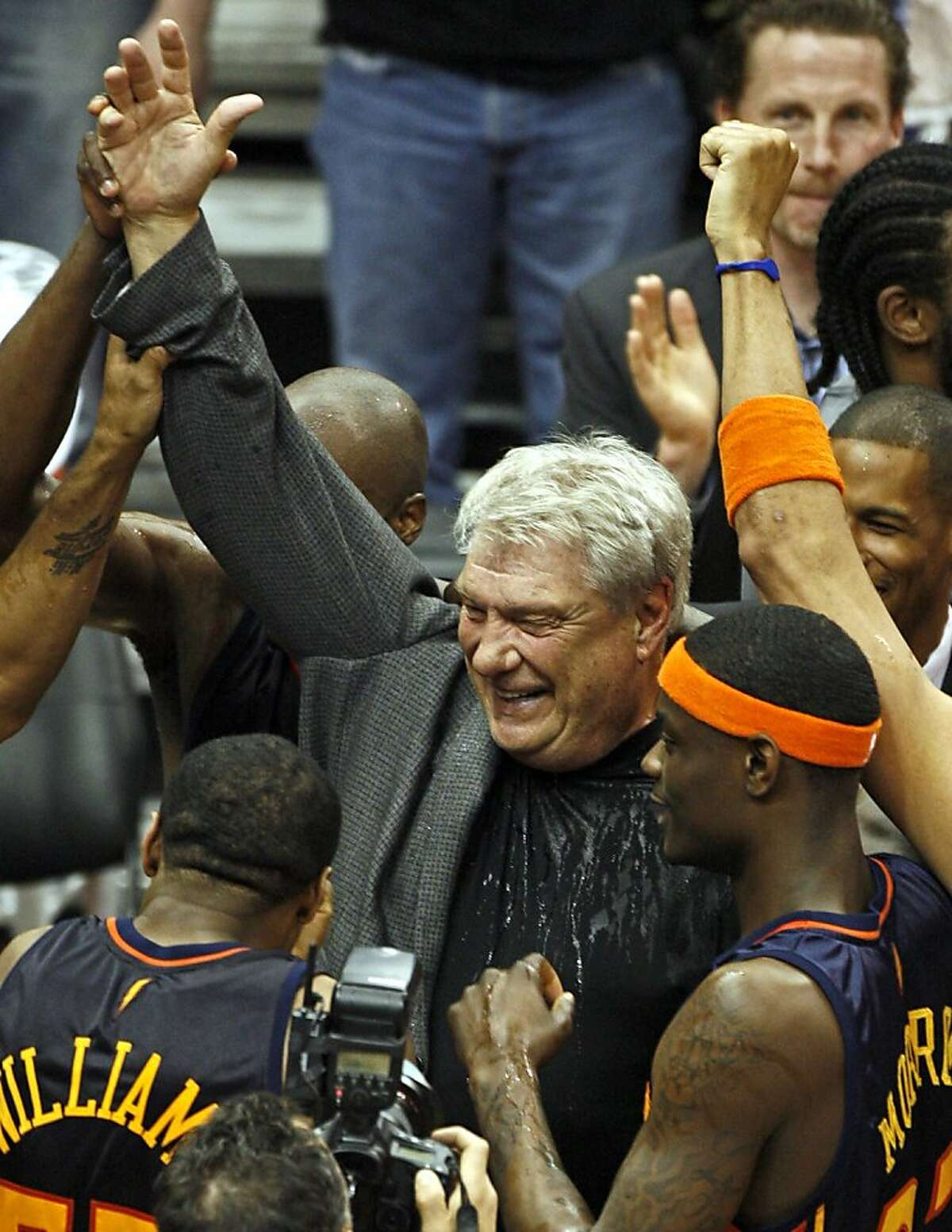Golden State Warriors coach Don Nelson celebrates with his players following a 116-107 win over the Minnesota Timberwolves at the Target Center in Minneapolis, Minnesota, on Wednesday, April 7, 2010. With the win, Nelson set an NBA record for career victories with 1,333, passing Lenny Wilkens. (Marlin Levison/Minneapolis Star Tribune/MCT)