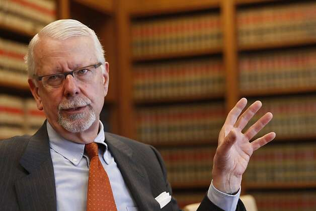 Recently retired U.S. District Judge Vaughn Walker, author of rulings on same-sex marriage and wiretapping, sits with veteran members of the press in the Federal Building to discuss his plans for the future on Wednesday April 6, 2011 in San Francisco, Calif. Photo: Mike Kepka, The Chronicle