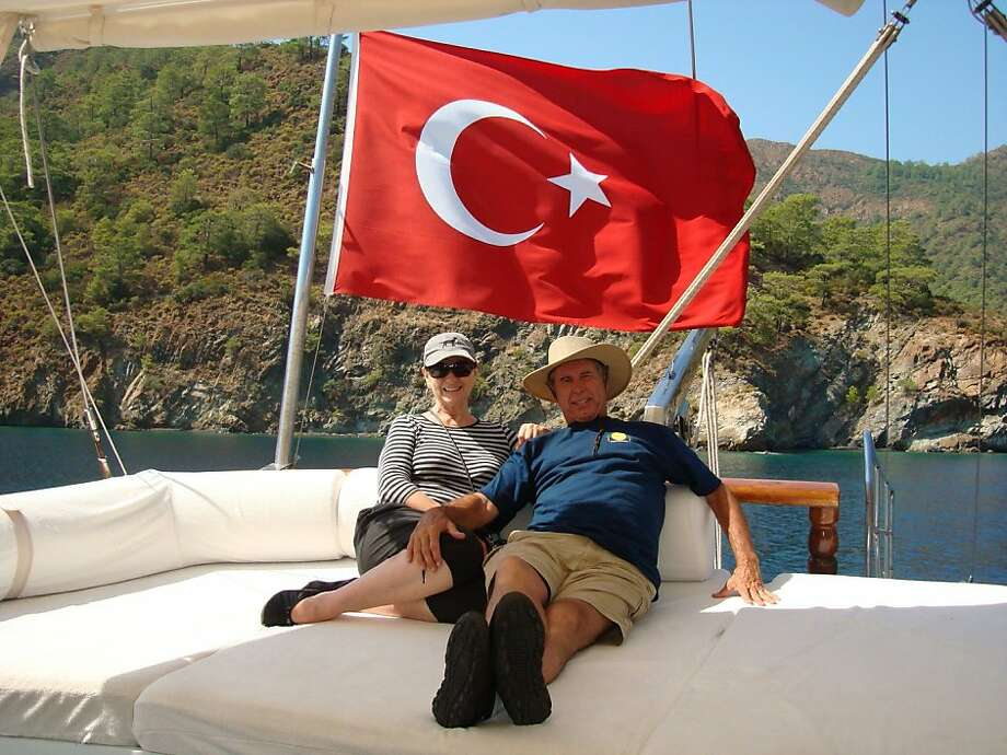 Kay and Bob Soper of Napa sailing on a gulet along the Turquoise Coast of Turkey. Photo: Courtesy Of Kay And Bob Soper