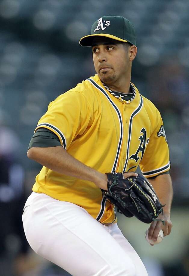 Oakland Athletics' Gio Gonzalez works against the Detroit Tigers during the first inning of a baseball game on Thursday, April 14, 2011, in Oakland, Calif. (AP Photo/Ben Margot)  Ran on: 04-15-2011 Gio Gonzalez had some tough luck, although his six shutout innings weren't sharp. Ran on: 04-15-2011 Gio Gonzalez had some tough luck, although his six shutout innings weren't sharp. Photo: Ben Margot, AP