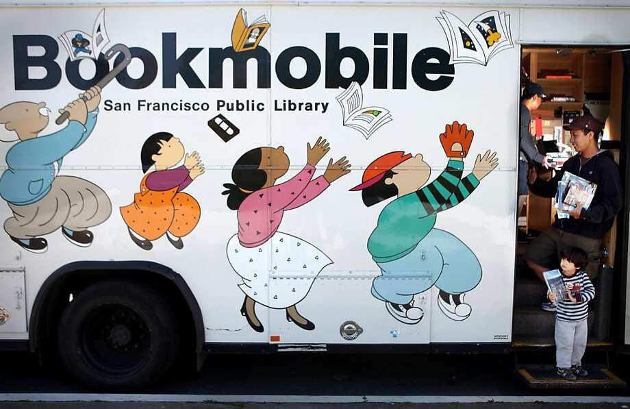 Namora Hasibuan (front), 3, and Bona Hasibuan (second from front), exit after returning and selecting new material at a SFPL bookmobile on Tuesday, April 12, 2011 in San Francisco, Calif. Photo: Lea Suzuki, The Chronicle
