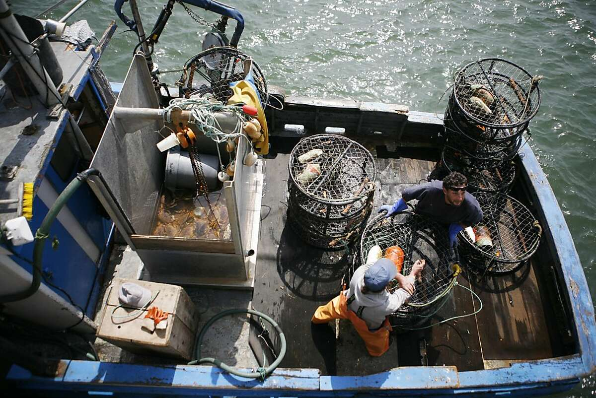 """Gene Harding (left, in orange) and Bob Bohannon (right, in blue) work on a commercial fishing boat named """"Trolli"""" unloading crab traps on Wednesday April 13, 2011. The 14-member Pacific Fishery Management Council makes a final decision on salmon fishing this year. They will give anglers off the California coast significant time to haul in chinook in May, July, August and September. The biggest population of chinook salmon since 2006 is plying coastal waters right now, according to fishery biologists, who are predicting a spawning bonanza in the fall."""