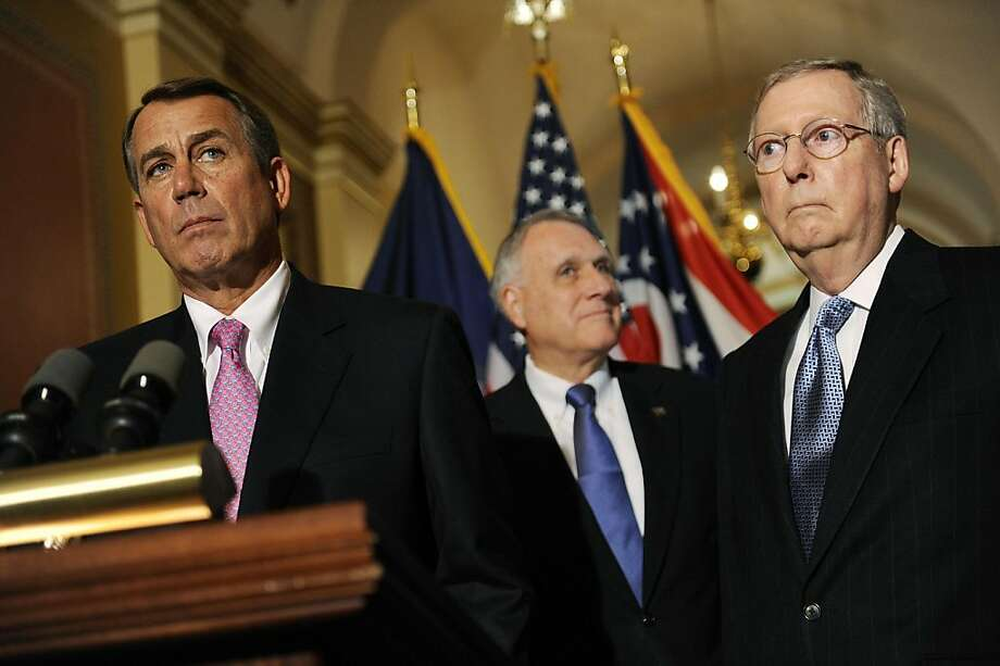 WASHINGTON, DC - APRIL 13:  (L to R) House Speaker John Boehner (R-OH) U.S. Sen. Jon Kyl (R-AZ) and Senate Minority Leader Mitch McConnell (R-KY) speak to reporters about meeting with U.S. President Barack Obama over the deficit debate at the U.S. Capitol on April 13, 2011 in Washington, DC. Obama is scheduled to make a major budget address this afternoon.   (Photo by Jonathan Ernst/Getty Images) *** BESTPIX *** Photo: Jonathan Ernst, Getty Images