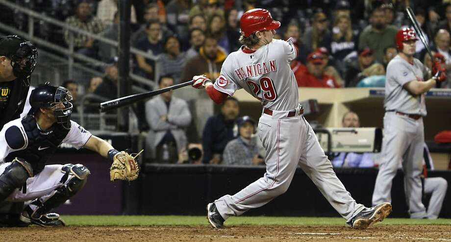 Cincinnati Reds' Ryan Hanigan rips a double down the left field line to bring in the tie breaking run in the 11th inning against the San Diego Padres in  a baseball game Tuesday, April 12, 2011 in San Diego.  The Reds went on to win 8-2. Photo: Lenny Ignelzi, AP