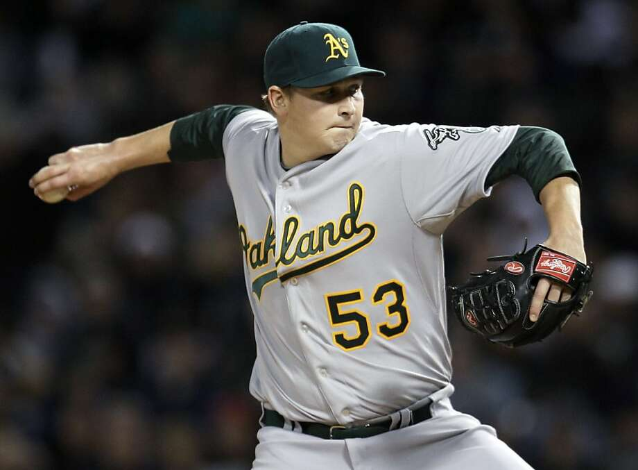 Oakland Athletics starting pitcher Trevor Cahill throws during the third inning of a baseball game against the Chicago White Sox in Chicago, Tuesday, April 12, 2011. Photo: Nam Y. Huh, AP
