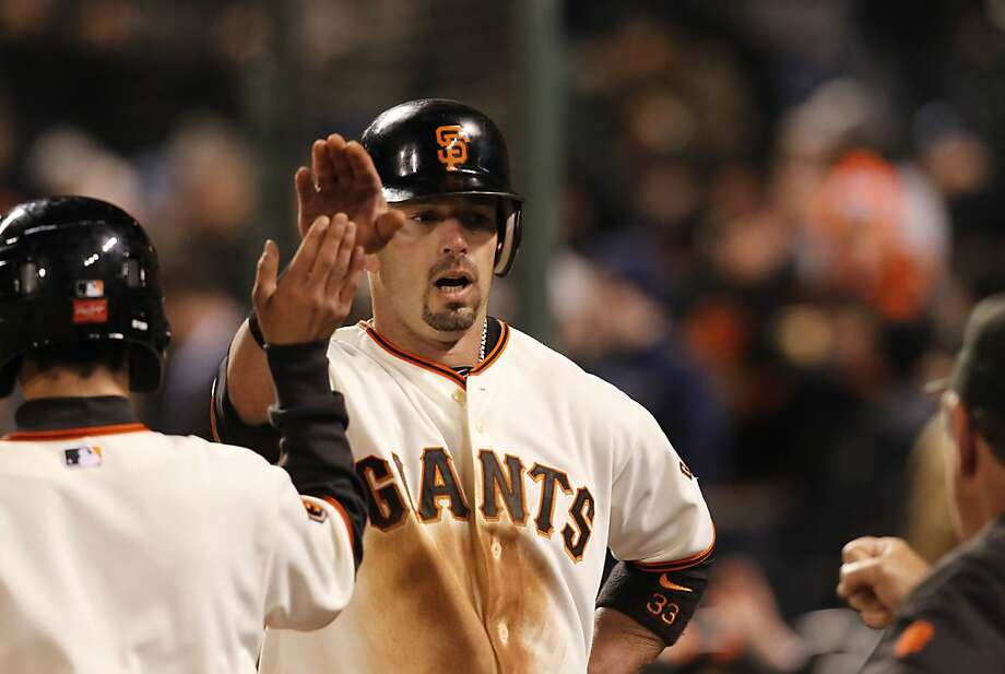 Giants Aaron Rowand scored the go ahead run on a wild pitch in the seventh inning, as the San Francisco Giants went on to beat the Los Angeles Dodgers 5-4, at AT&T Park, in San Francisco, Ca. on Tuesday Apr. 12, 2011. Photo: Michael Macor, The Chronicle