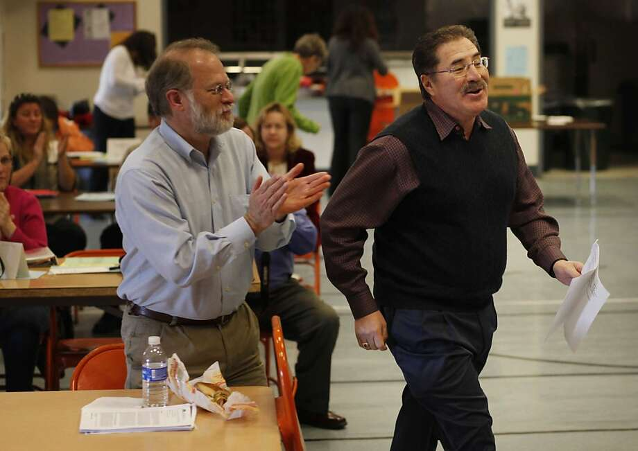 David Sanchez (rt), California Teachers Association president, walks towards the podium where he will give a speech to a group of teachers at  Brookvale Elementary School on Thursday January 2, 2011 in Fremont, Calif. Photo: Mike Kepka, The Chronicle