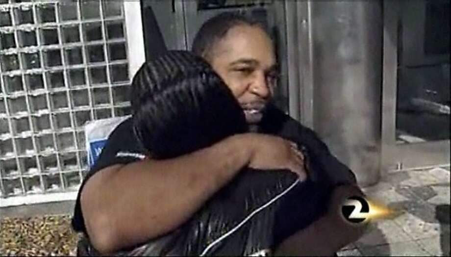 After 20 years behind bars, Maurice Caldwell is released from San Francisco County Jail March 28, 2011. Photo: Courtesy KTVU