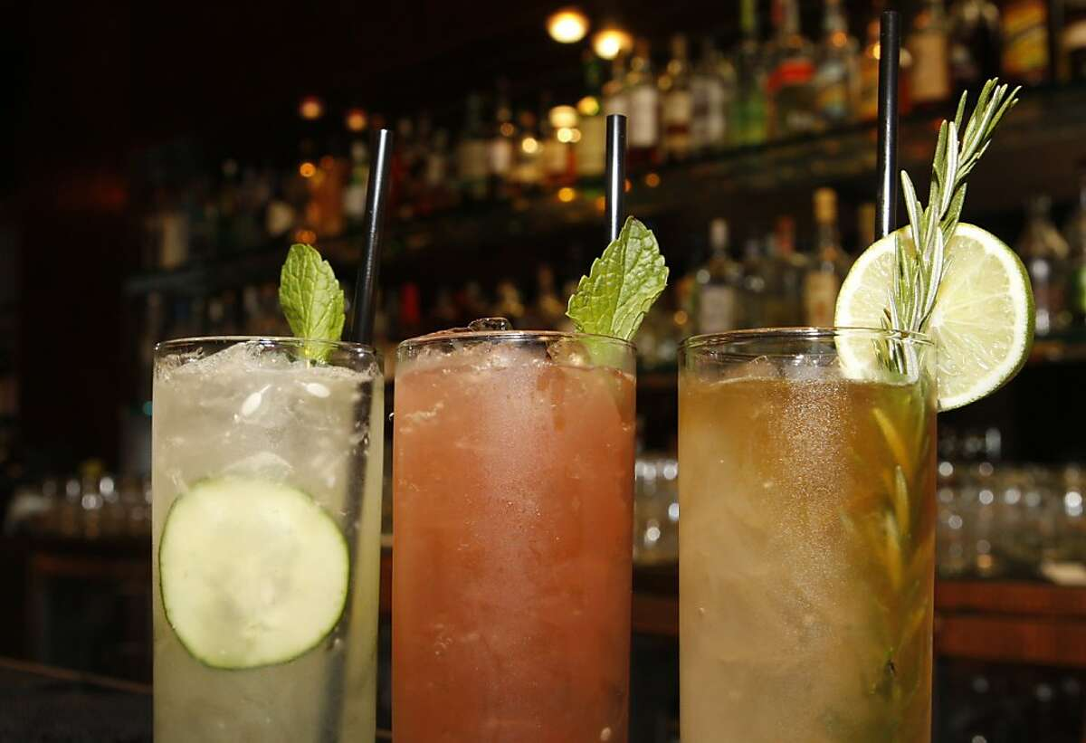 Drinks from the 'Cocktails to Dance With' menu at Azul in San Francisco Calif, sit lined up on the bar on Wednesday, April 13, 2011.