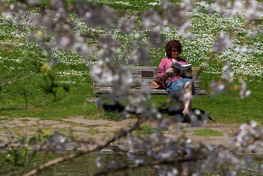 Marcia Lewana of New Jersey reads a book in the Botanical Gardens in Golden Gate Park on April 4, 2011 in San Francisco, Calif.  Photograph by David Paul Morris/Special to the Chronicle Photo: David Paul Morris, Special To The Chronicle