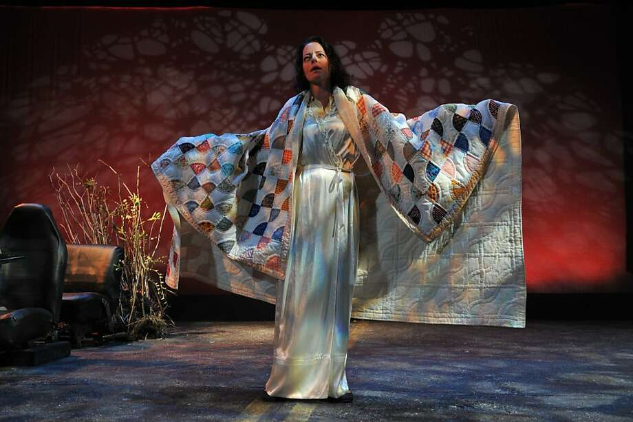 """Vera (Stacy Ross) finds solace in the memories in the patches of her quilt in San Jose Stage's premiere of Trevor Allen's """"Lolita Roadtrip"""" Photo: Dave Lepori"""