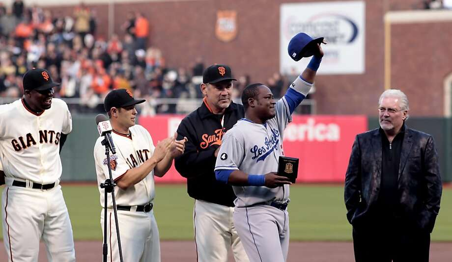 Los Angeles Dodgers Juan Uribe with tears in his eyes thank the crowd after receiving his World Series ring,  Monday April 11, 2011, in San Francisco, Calif. Photo: Lacy Atkins, The Chronicle