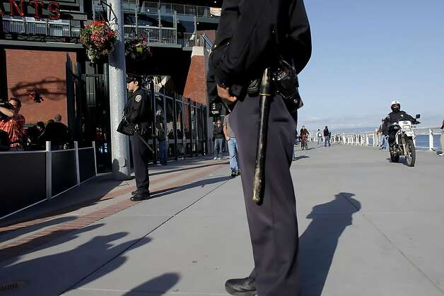 Extra security was on hand as the gates at AT&T Park opened for the first Giants and Dodgers game,  Monday April 11, 2011, in San Francisco, Calif., because of the attack on Bryan Stow in Los Angeles. Photo: Lacy Atkins, The Chronicle