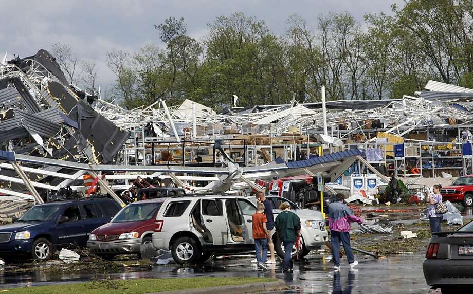 The Lowe's home improvement store in Sanford, North Carolina, sits in rubble after a tornado touched down in the area, Saturday, April 16, 2011. (Thomas Babb/Raleigh News & Observer/MCT) Photo: Thomas Babb, MCT