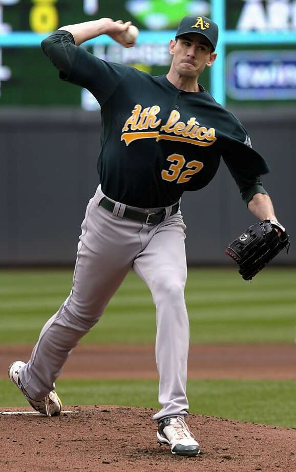 Oakland Athletics' Brandan McCarthy pitches against the Minnesota Twins during the first inning of a baseball game on Sunday, April 10, 2011, in Minneapolis. Photo: Tom Olmscheid, AP