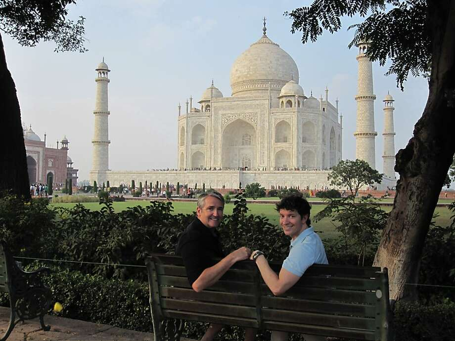 Gary Pike and Jamie Ennis of San Francisco in front of the Taj Mahal. Photo: Courtesy Of Gary Pike