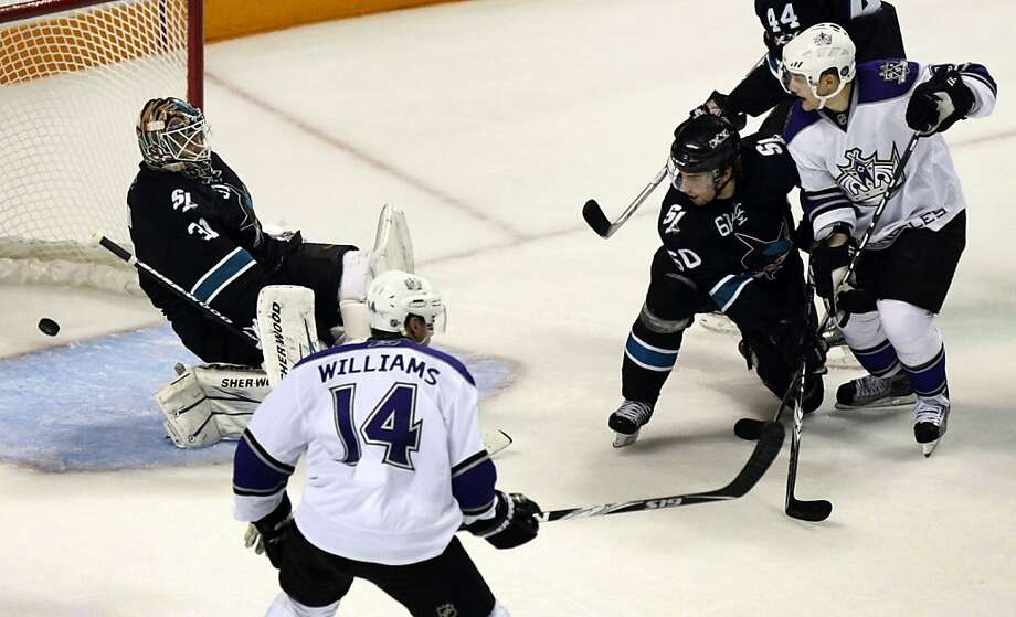 The Los Angeles Kings' Drew Doughty (not shown) scores his second goal of the night past San Jose Sharks goalie Antti Niemi (31) in the second period of Game 2 in the first-round Western Conference playoff series in San Jose on Saturday. Photo: Lance Iversen, The Chronicle