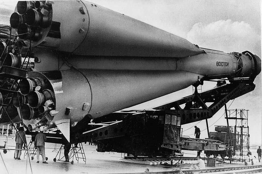 ** ADVANCE FOR USE SUNDAY, APRIL 10, 2011 AND THEREAFTER ** FILE - This undated picture shows a Russian Vostok rocket on its launcher. It was the Soviet Union's own giant leap for mankind _ one that would spur a humiliated America to race for the moon. OnTuesday, April 12, 1961 when an air force pilot named Yuri Gagarin, traveling in a Vostok, became the first human in space. Photo: Associated Press