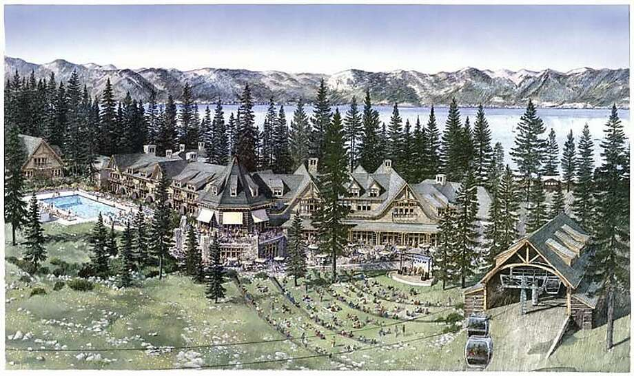Ampitheater and Back of Hotel, North Base   Ran on: 04-16-2011 An artist's rendering shows the proposed design for a four-story hotel, modeled after the old Tahoe Tavern. Ran on: 04-16-2011 An artist's rendering shows the proposed design for a four-story hotel, modeled after the old Tahoe Tavern. Photo: Homewood Mountain Resort