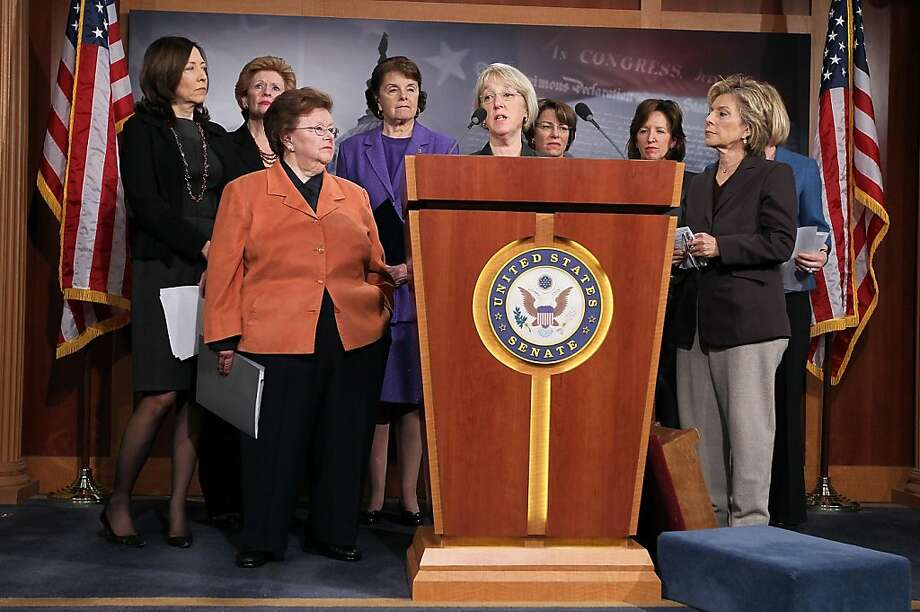 WASHINGTON, DC - APRIL 08:  U.S. Sen. Patty Murray (D-WA) speaks as (L-R) Sen. Maria Cantwell (D-WA), Sen. Debbie Stabenow (D-MI), Sen. Barbara Mikulski (D-MD), Sen. Dianne Feinstein (D-CA), Sen. Amy Klobuchar (D-MN), Sen. Kay Hagan (D-NC) and Sen. Barbara Boxer (D-CA) listen during a news conference April 8, 2011 on Capitol Hill in Washington, DC. Democratic women senators held a news conference to call on the Republicans not to cut basic health access for women. Photo: Alex Wong, Getty Images