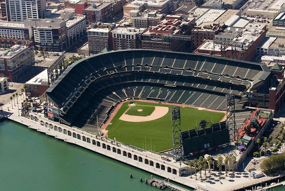 Aerial view of AT&T Park, San Francisco, made Tuesday Sept. 5, 2006. Photo: Judith Calson, Special To The Chronicle