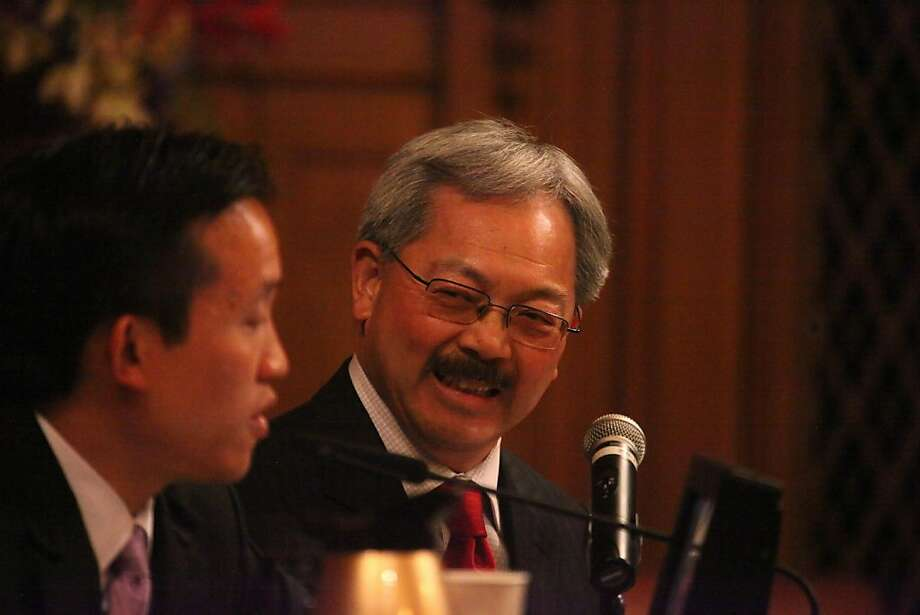 San Francisco Mayor Ed Lee (right) laughs with Supervisor David Chiu as he answers 5 questions from the Board of Supervisors during Formal Policy Discussions at City Hall on Tuesday, April 12, 2011 in San Francisco, Calif. Photo: Lea Suzuki, The Chronicle