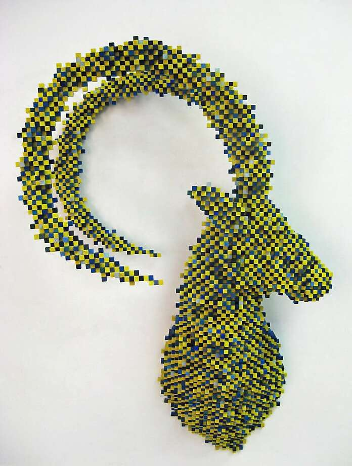 "Shawn Smith's ""Green Ibex"" (2010), balsa wood, ink, acrylic paint, 41 x 28 x 16.5 in. Photo: Cain Schulte Gallery"