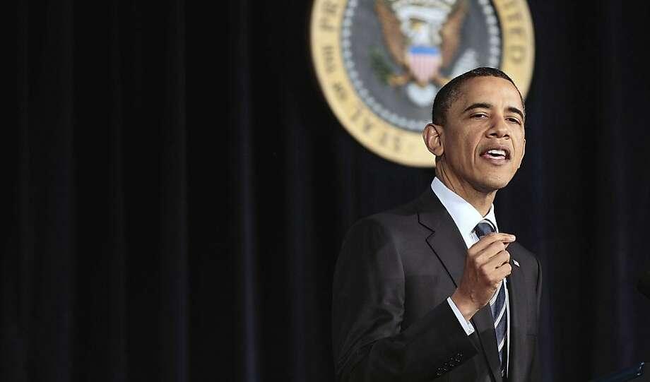 President Barack Obama outlines his fiscal policy during an address at George Washington University in Washington, Wednesday, April 13, 2011. Photo: Pablo Martinez Monsivais, AP