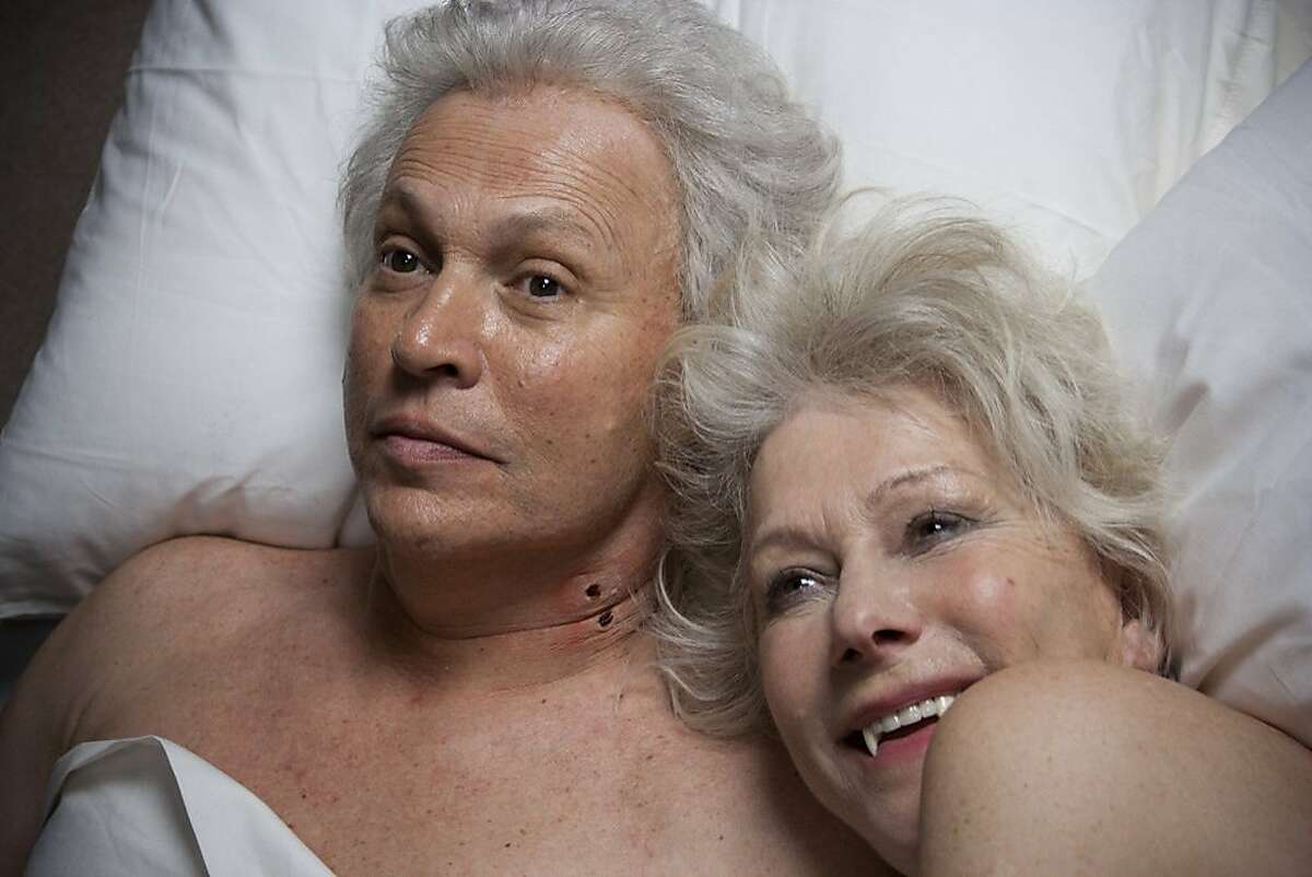"""In this image from video released by FunnyOrDie.com, Billy Crystal, left, and Helen Mirren are shown in a scene from the web video, """"Grampires: When Sharon Bit Harry,"""" released Wednesday, April 6, 2011 on the comedy website FunnyOrDie.com."""