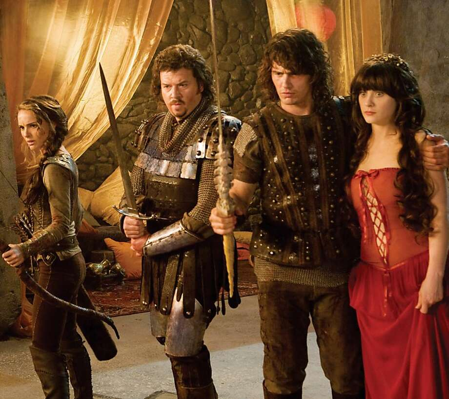 "Isabel (Natalie Portman, from left) Thadeous (Danny McBride), Fabious (James Franco) and Belladonna (Zooey Deschanel) star in a comedy-adventure set in a fantastical world, ""Your Highness."" (Frank Connor/Courtesy Universal Pictures/MCT) Photo: Handout, MCT"
