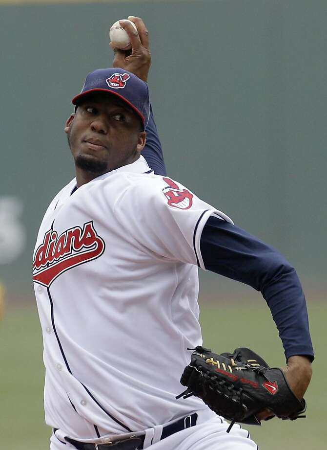 Cleveland Indians starting pitcher Fausto Carmona pitches in the first inning in a baseball game against the Boston Red Sox, Thursday, April 7, 2011, in Cleveland. Photo: Tony Dejak, AP