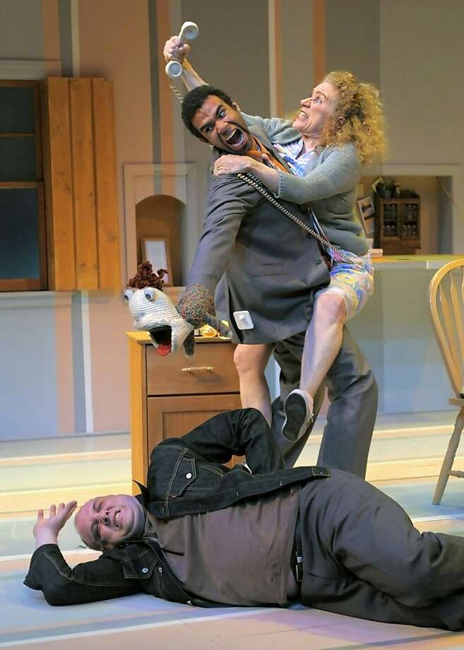 """The kidnapping of Claire spins out of control with  Gertie (Joan Mankin, right), Millet (Lance Gardner) and Limping Man (Tim True, below) in """"Fuddy Meers"""" at Marin Theatre Company Photo: Kevin Berne"""