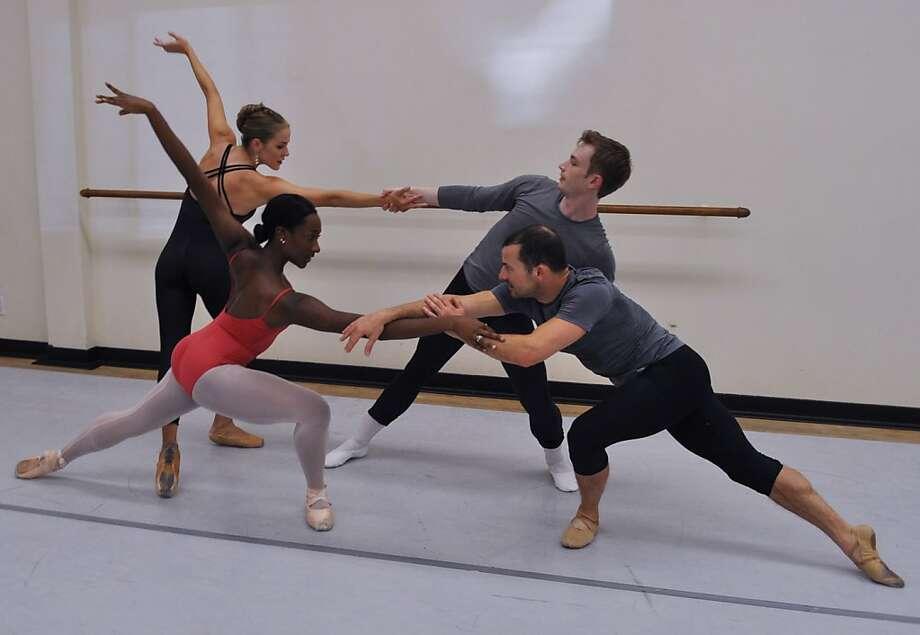 Oakland Ballet dancers Rachel Spiedel Little, Amber Merrick, Connolly Strombeck and Brandon Freeman. Photo: Jeff Bedrick