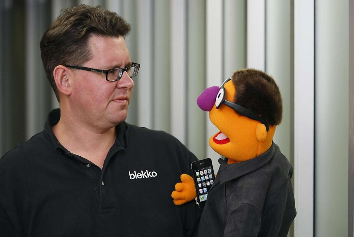 CEO of Blekko Rich Skrenta jokes around with a puppet designed in his image at the Blekko office in Redwood City Calif, on Wednesday, April 6, 2011.