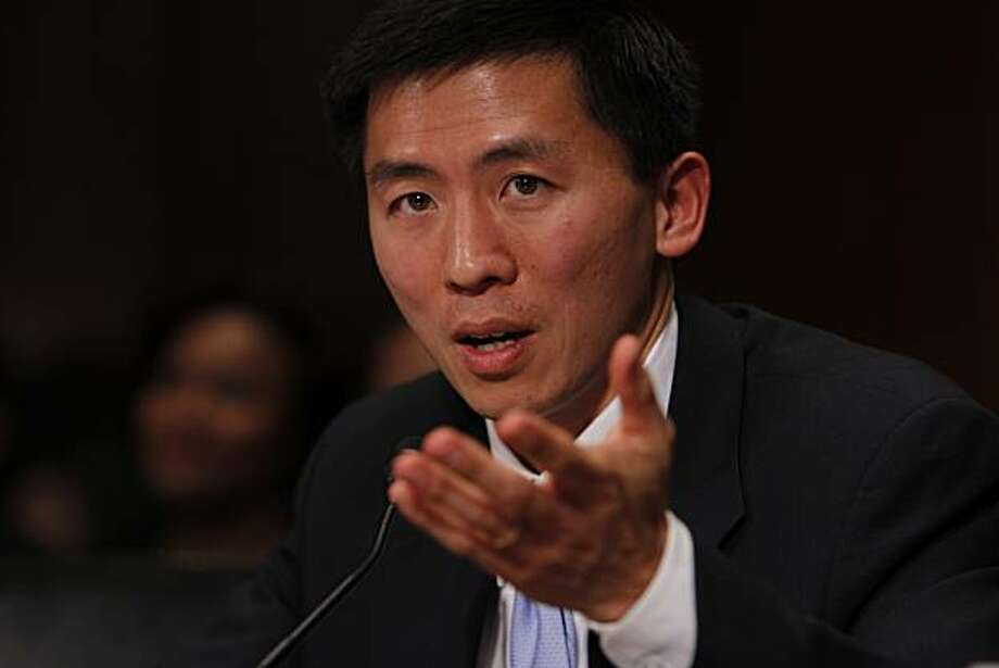 California law professor Goodwin Liu, testifies on Capitol Hill in Washington, Friday, April 16, 2010, before the Senate Judiciary Committee hearing on his nomination to be US Circuit Judge for the Ninth Circuit. (AP Photo/Charles Dharapak) Photo: Charles Dharapak, AP