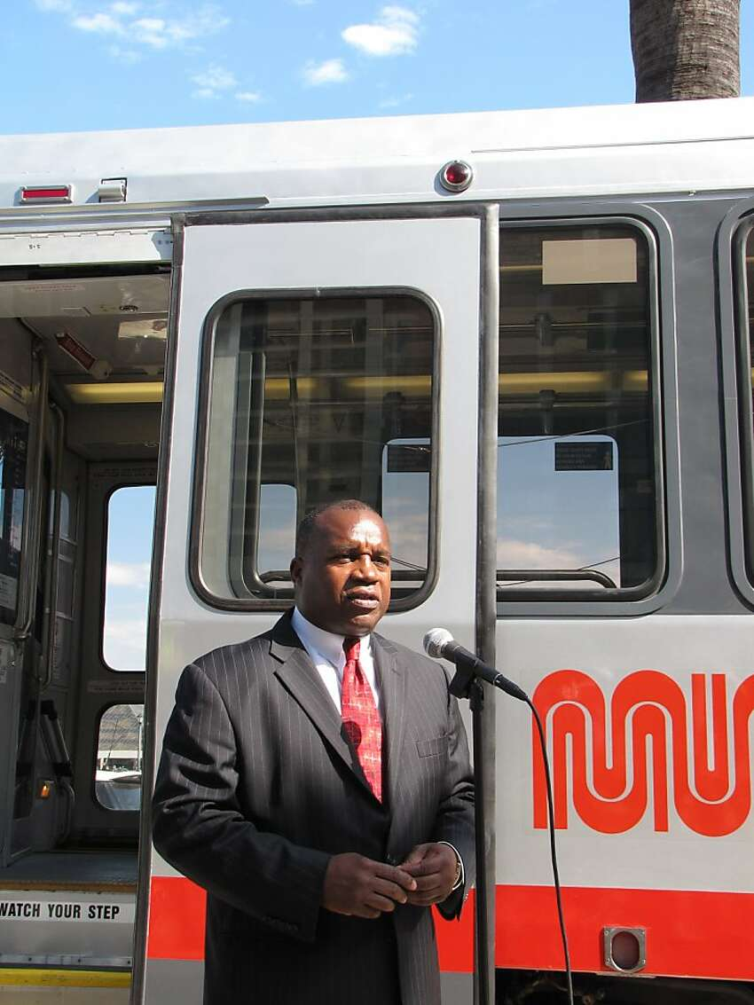 Nathaniel Ford, Executive Director of the San Francisco Municipal Transit Authority; news conference unveiling the first of 143 light rail vehicles to be restored under a $56 million project; along the Embarcadero between Mission and Market Streets; Thursday, Oct. 14.