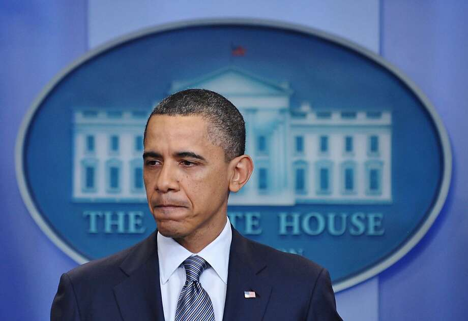 "US President Barack Obama speaks during an unannounced appearance in the Brady Briefing Room on April 5, 2011 at the White House in Washington. Obama upped the ante in a budget row with Republicans, warning it would be ""inexcusable"" not to agree to a dealand risk closing down the US government this week. Obama warned that the slowly recovering American economy did not need the severe disruption that would result from a federal government shutdown, playing his cards in dramatic fashion as the budget row raced to a climax. Photo: Mandel Ngan, AFP/Getty Images"