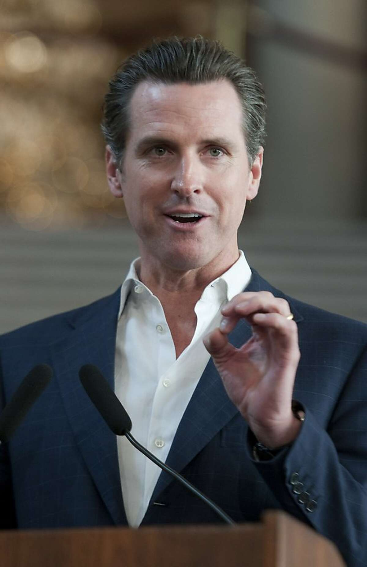 San Francisco Mayor Gavin Newsom announces the start of the World Series champion Commissioner's Trophy Tour on Wednesday, Dec. 15, 2010, at San Francisco City Hall. The tour will begin on Jan. 4, 2011. (Adam Lau/Special to The Chronicle)