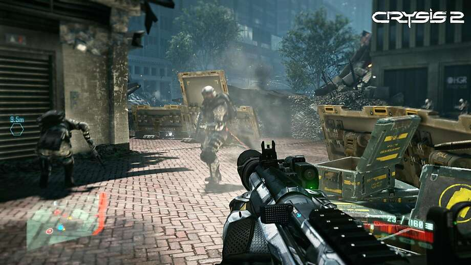 "A screenshot of Crytek/EA's first person shooter, Crysis 2. Set in 2023, an alien infestation forces an evacuation of New York City. As a marine codenamed ""Alcatraz,"" players wears an experimental battle armor, the ""nanosuit,"" that has different modes ? super strength, speed, stealth and armor. Photo: Crytek, Electronic Arts"